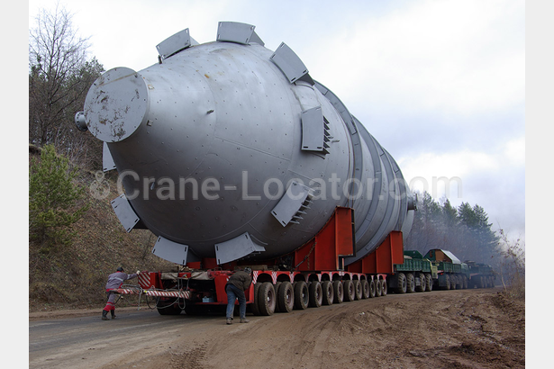 Transportation of coking chamber of 250 m, a diameter of 8 m